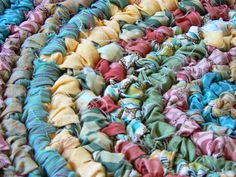 Pretty rag rug.  An example of a rug with unfinished strips.