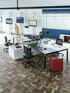 Office & Workspace:Adorable Black White Work Desk By Henrique Steyer On Lumina Design With Black Swivel Arm Chairs And White Cabinet And Red Folding Cabinet On Wood Ceramic Floor Tiles And Black Lcd Blue Wall Office Rooms Glass Windows Virtuosity Henrique Steyer: Fantastic Contemporary Workspace designs