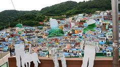 Korean artists and art students have installed various works of art throughout Gamcheon village.