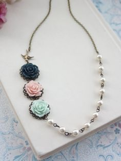 Hey, I found this really awesome Etsy listing at https://www.etsy.com/listing/124482602/pink-mint-navy-flying-swallow-bird-ivory
