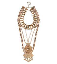 - Draped design- Gold finish- Clasp fastening