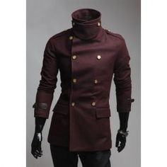 "$27.25 Slimming Solid Color Turndown Collar Double-Breasted Long Sleeves Woolen Coat For Men ""This.  I want this."" ~Dom"