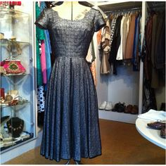 1950s lace overlay swing dress 24inch waist from Vintage Deli Boutique check out our Facebook for more vintage gems. Can post world wide - incredible condition -- £139