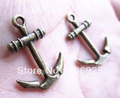 Free shipping Wholesale Antique bronze anchor charm pendant 19mmx26mm 40pcs/lot-in Charms from Jewelry on Aliexpress.com