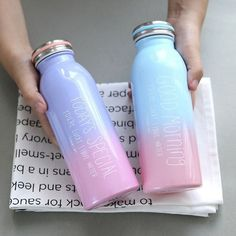 Buy a Gradient Color Stainless Steel Water Bottle for water on the go. Membership is free and you save on creative products at the Apollo Box. Drinking Water Bottle, Cute Water Bottles, Best Water Bottle, Reusable Water Bottles, Water Bottle Design, Drink Bottles, Colorful Drinks, Cute Cups, Message In A Bottle