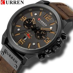 Men's Luxury Waterproof Sport Wrist Watch Chronograph Quartz Military Genuine Leather Men's Watches, Luxury Watches, Fashion Watches, Watches Online, Wrist Watches, Cheap Watches, Silver Watches, Male Watches, Rugged Style
