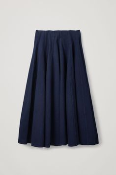 COS | Pleated denim a-line skirt White Skirts, Blue Skirts, Cotton Shirt Dress, Sustainable Clothing, Basic Outfits, Slow Fashion, A Line Skirts, Minimal Chic, Skirt Fashion
