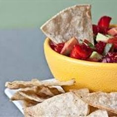 This refreshing, sweet salsa is a perfect alternative to the traditional salsa. This is great on top of fish, chicken, pork. Another idea: cut pieces of rye bread and bake at 400 degrees for 5 minutes on both sides. Top with salsa for a sweet bruschetta.  - Nicoles Strawberry Avocado Salsa