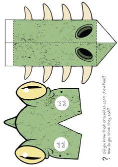 A colour version of the Bernard the crocodile mask