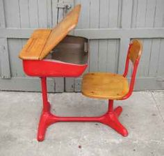 Peabody student desk with chair.  Brings back memories.  Ours were in gray-- not red.  This one is much prettier.