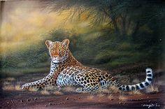 Alert Leopard at Dusk by Geoffrey Mugwe of Nairobi, Kenya Kenyan Artists, Nairobi, Dusk, Panther, Africa, Animals, Panthers, Black Panther