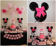 this site has a lot of cute ideas, from the zebra cakes to the yarn minnie mouse silhouettes. take a look at this !!