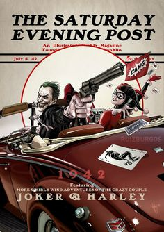 Joker & Harley Saturday Evening Post.. Don't know who the artist is, but I love it...