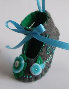 Baby's First Christmas Felt Shoe Ornament.
