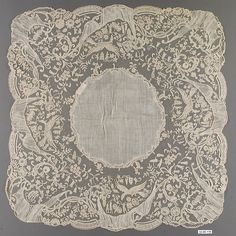 Handkerchief, third quarter century, Flemish (Brussels), made of Bobbin lace, Dimensions: L. Lace Embroidery, Vintage Embroidery, Antique Lace, Vintage Lace, Vintage Handkerchiefs, Lacemaking, Linens And Lace, Lace Ribbon, Vintage Crafts