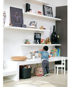 Inspiration for decorating a kid's room shelving