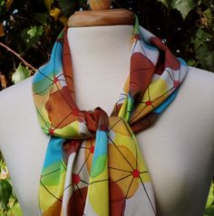 Women's Hand Painted Silk Charmeuse Scarf by FlingamoScarves, $40.00
