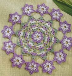 Crochet World, April 2019 Cosmos Flowers, Purple Flowers, Filet Crochet, Crochet Doilies, Doily Patterns, Crochet Patterns, Table Runner Pattern, Sport Weight Yarn, Crochet World