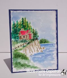 Art Impressions Rubber Stamps: Watercolor - WC EZ Project B (Sku#4272) Summer Cabin water color card.