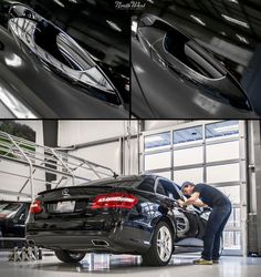 Blake is hard at work on the chrome delete for this Mercedes E550, and it's looking great! All chrome surfaces are being wrapped in a Brushed Black Vinyl.