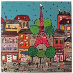 Hace tiempo me rondaba por la cabeza la idea de pintar ciudades del mundo.Asi que llegó el día!!!! Empiezo por Paris y este es mi Paris particular,sus casitas,sus tiendas y cafés decoran la ciudad de la luz. Y ahora me pregunto,que ciudad será la próxima?