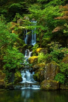 via Green Oasis by Thorsten Scheuermann Waterfall in Portland's Japanese Garden, Oregon Beautiful World, Beautiful Gardens, Beautiful Places, Beautiful Waterfalls, Beautiful Landscapes, Portland Japanese Garden, Japanese Gardens, Portland Garden, Amazing Nature