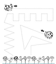 ladybug trace line worksheet  |   Crafts and Worksheets for Preschool,Toddler and Kindergarten
