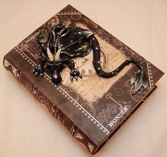Black & Bronze Dragon on Large Old World Map Book - Art of Tammy Pryce