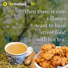 """Rainy days make weather cold So body love hot drinks and tasty street food. There is no option to masala tea and bajji. No need to wait till rain gets completed. Just order on """"restaurantongo"""" app and we deliver to your doorstep. Masala Tea, Order Food Online, Monsoon, Rainy Days, Street Food, Tasty, Weather, Lunch, Restaurant"""