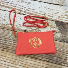 Monogrammed crossbody purse Monogram wristlet by skkilby21 on Etsy