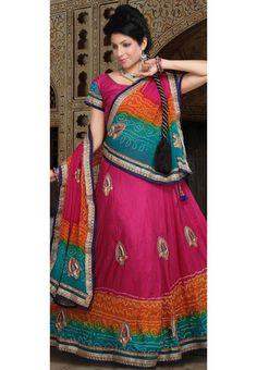 Utsav Fashion : rani-and-orange-and-sea-green-pure-silk-bandhej-lehenga-choli-with-dupatta