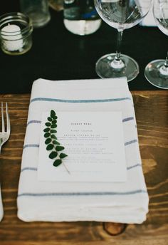 simple place setting styling with menus