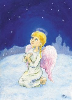 Greeting card Angel Guardian Christmas card Angel illustration  Art for Kids Nursery wall decor by Mirabilitas on Etsy
