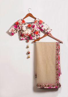 Looking for floral print blouse? Browse of latest bridal photos, lehenga & jewelry designs, decor ideas, etc. Lehenga, Sabyasachi, Anarkali, Indian Blouse, Indian Sarees, Indian Attire, Indian Outfits, Indian Wear, Indian Clothes