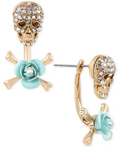 Betsy Johnson Gold-Tone Skull and Crossbones Front and Back Earrings