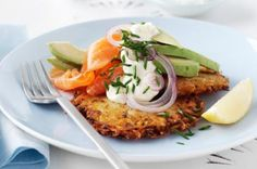 smoked salmon and avocado on homemade potato rosti- make with sweet potato