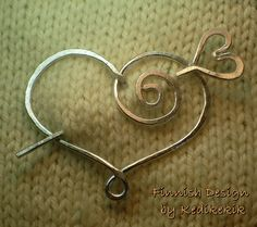 Hammered HEART BROOCH, Hair Pin or Shawl Pin For Scarf made with Aluminum Wire - A touch of LOVE to your look. $16.00, via Etsy.