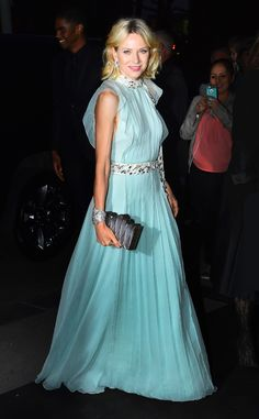 Naomi Watts from The Best of the Red Carpet  Naomi's heavenly Prada gown is the perfect blue for the Tiffany & Co gala.