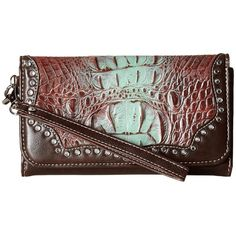 M&F Western Carmel Clutch (Tan) ($25) ❤ liked on Polyvore featuring bags, handbags, clutches, western purses, leather handbags, leather purses, western leather handbags and brown wristlet
