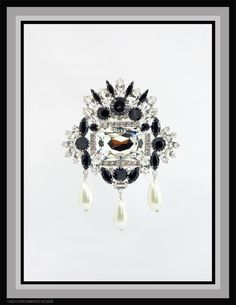 """Swarovski and Pearl """"drippy brooch"""" by Bryan Greenwood of Crystal Countess / Jewellery by Greenwood Design"""
