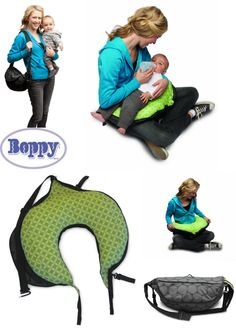 Boppy Travel Nursing Pillow. Unzip to reveal the soft cushioning pillow that wraps neatly around moms waist to support baby during feeding or cuddle time.