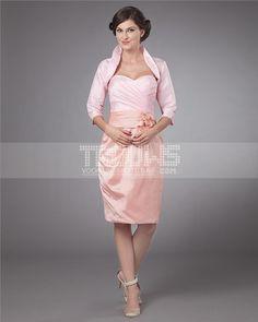 Taffeta Sweetheart Applique Flower Knee Length Mothers of Bride Guests Dresses