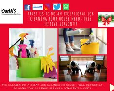 We are open on public holidays!!  Ouma's housekeeping services provide quality housekeeping services with the understanding that our clients are unique.  The services are but not limited to cleaning, baby/pet sitting, car wash, and laundry.  Book a housekeeper today!! Clean My House, Public Holidays, Housekeeper, Pet Sitting, Cleaning Services, Car Wash, Laundry, Book, Unique