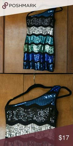 """Sequin Blue Green One Shoulder Mini Dress perfect for clubs, new year's eve, fun cocktail worn once.   tag: medium, but stretches I typically wear a small & it fits me.  measured flat across: length: 23"""" on strapless side, 31"""" on side with strap bust: 14"""" bust (will stretch) waist: 13.5"""" waist (will stretch) dress is lined colors are various shades of blue, black, silver 96% polyester, 4% spandex Forever 21 Dresses Mini"""