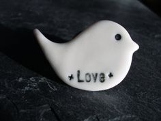 Porcelain Love Bird Brooch/Pin by HaleyHandCraftedLove on Etsy, £4.00