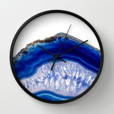 Blue Agate Wall Clock agate slice Clock Stone Print Clock Office Wall Clock Girls Room Clock Modern Clock Home Decor Blue Crystals