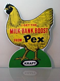"Vintage ""KRAFT"" PEX Die-Cut Embossed Chicken Metal Seed Feed Sign NEW OLD STOCK #KraftPex"