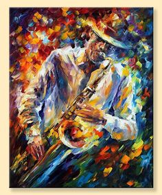 Late Music — Limited Edition Saxophone Musician Portrait Living Room Decor Print On Canvas By Leonid