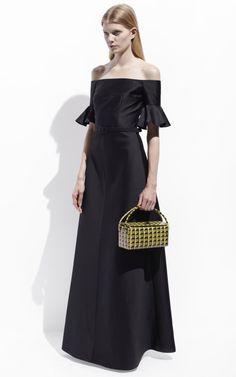 Shop Satin Pique Off Shoulder Evening Dress by Carven for Preorder on Moda Operandi