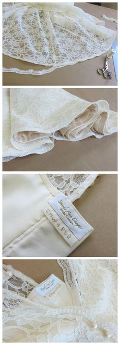 Scalloped lace and horsehair hems. Hand embroidered labels. Click to read about the couture finish work for Caitlin's custom wedding dress by Brooks Ann Camper Bridal Couture.